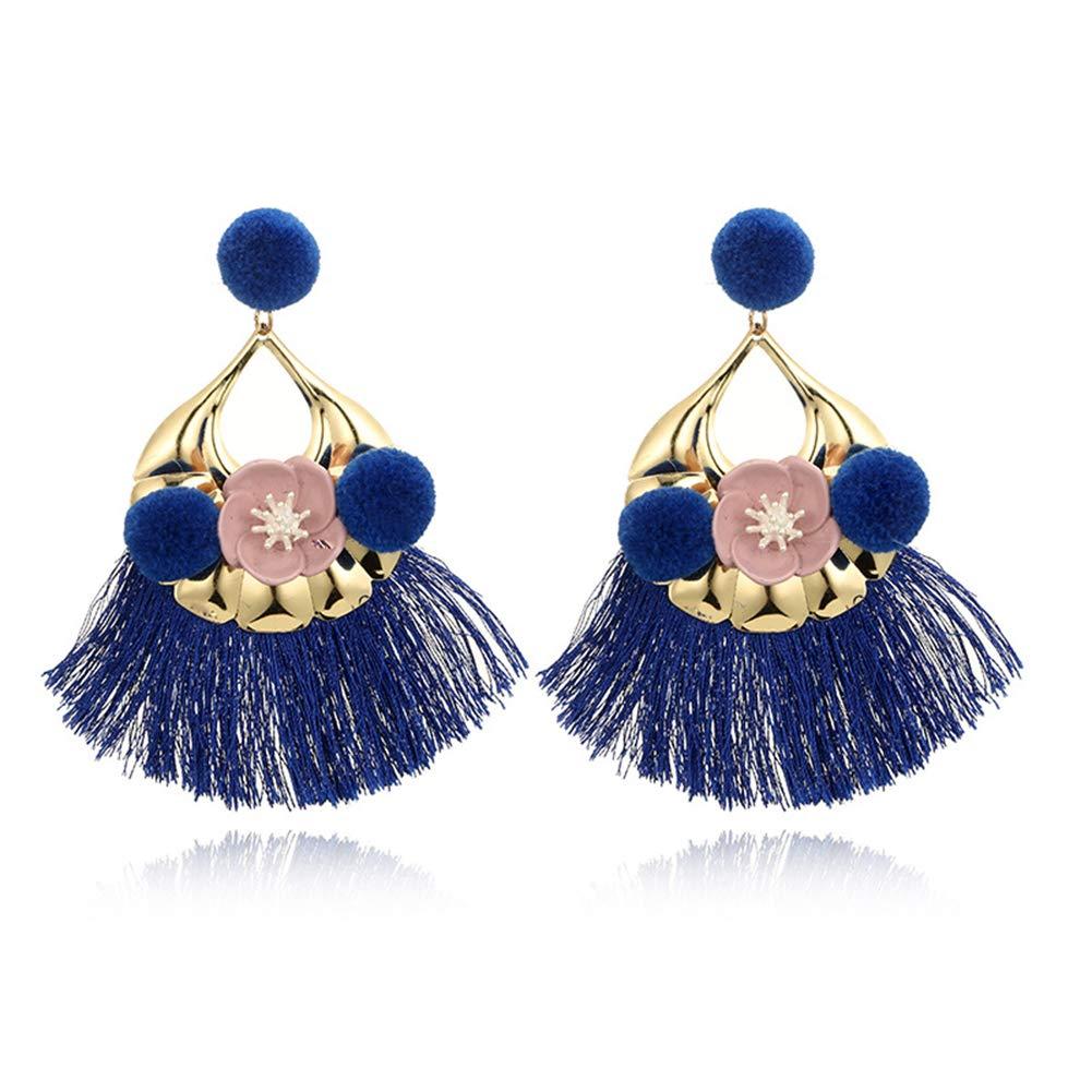 Alamana Bohemian Women Flower Plush Ball Tassel Dangle Stud Earrings Party Jewelry Gift - Blue