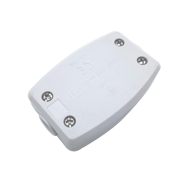 Paquete de 2 unidades derivació n elé ctrica 3 Terminal Conector De Lí nea Caja de conexiones elé ctricas para encender el conector de cable LED mecá nico de control elé ctrico Blanco BlueXP