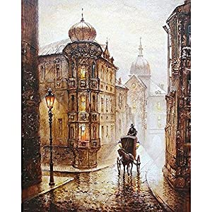 DIY Oil Painting Paint by Number Kit with Scenery Peaple 16x20inch (Frameless, Romantic Paris Street Eiffel)
