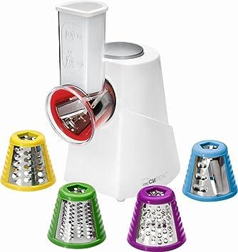 Clatronic Eléctrica Mult Rallador Acero Inoxidable 5 Varios Insertos (Multiusos Rallador, rallador de Cocina, rallador de Acero Inoxidable, ...