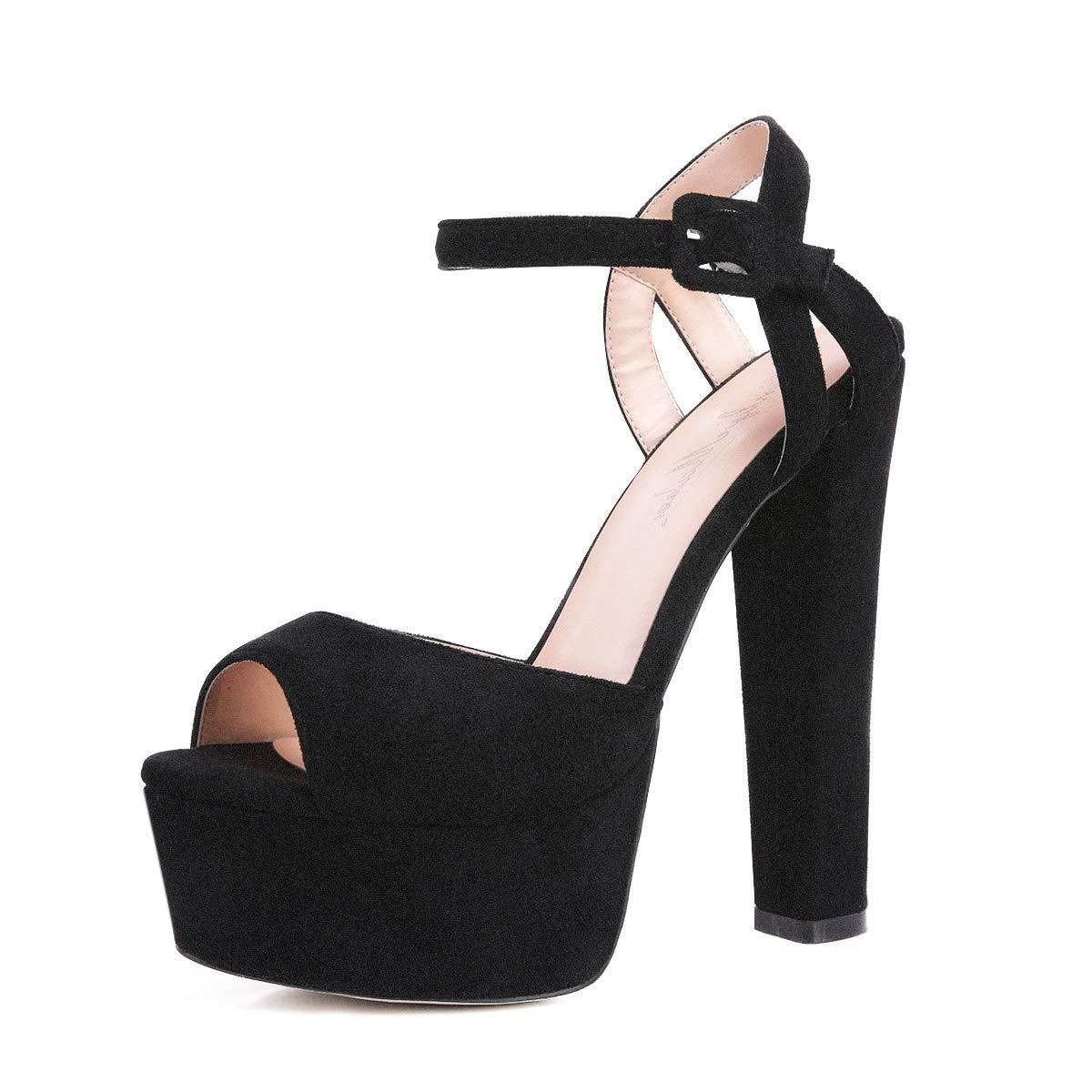 7bc30d5e3cf38 Onlymaker Women's Platform Chunky High Heels Faux Suede Ankle Strap Peep  Toe Sandal Pumps Dress Party Shoes