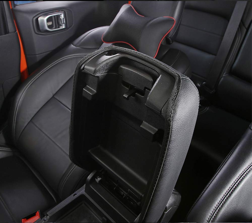 Black//Red Line Toworld18 New Leather Center Console Armrest Cushion Pad Guard Cover for Jeep Wrangler JL 2018 up