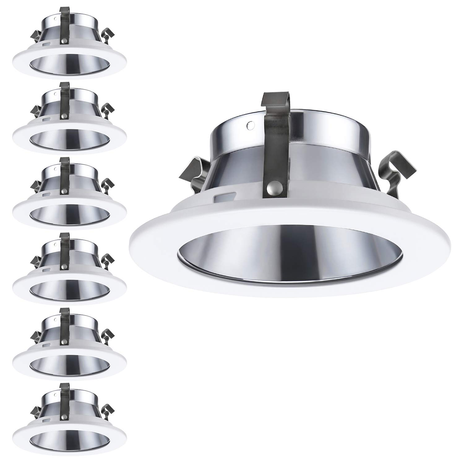 6 Pack 4 Inch Light Trim with Aluminum Reflector White Metal Step Baffle, for 4 Inch Recessed Can, Fit Halo/Juno Remodel Recessed Housing, Line Voltage Available