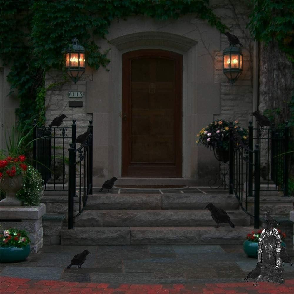 Corbeaux R/éalistes Halloween Corbeau Prop D/écorations 2 Pcs Halloween Noir Corbeau D/écoration Corbeau Noir D/écorations dhalloween//Ext/érieur D/écoration De F/ête