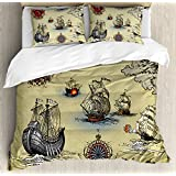 Ambesonne Compass Duvet Cover Set, Antique Old Plan Discovery Ship Pirate Wave Compass Navigation Geography Theme, 3 Piece Bedding Set with Pillow Shams, Queen/Full, Beige Red Grey
