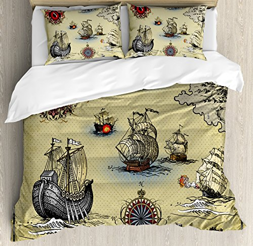 (Ambesonne Compass Duvet Cover Set, Antique Old Plan Discovery Ship Pirate Sea Wave Compass Navigation Geography Adventure Retro Theme, 3 Piece Bedding Set with Pillow Shams, Queen/Full, Beige Red Grey)