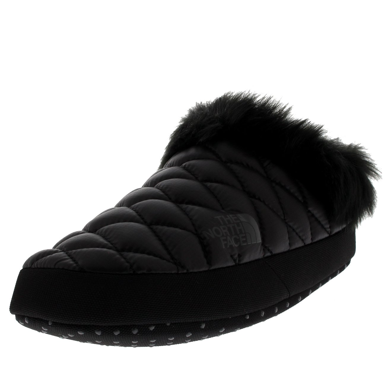 The North Face Womens Thermoball Tent Mule IV Cosy Faux Fur Slippers - Shiny Black/Beluga Gray - 8-9.5