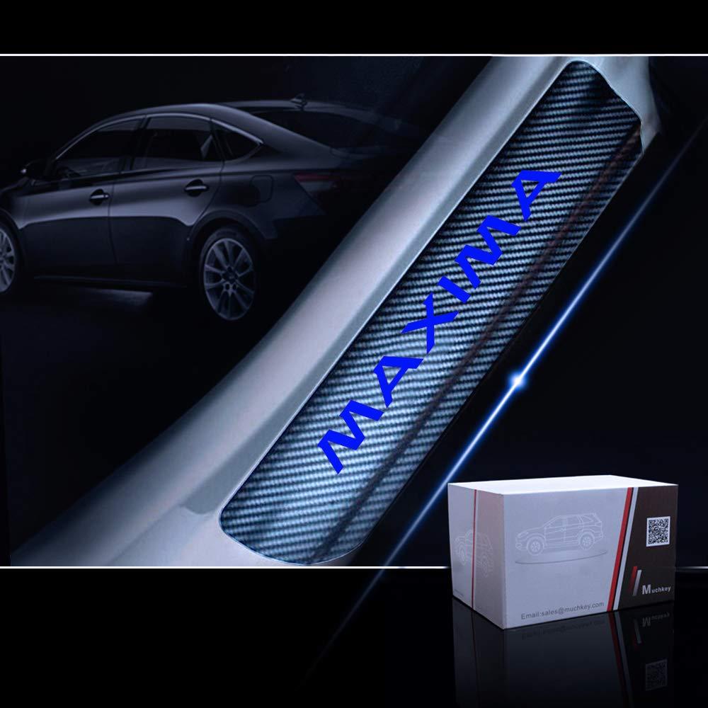 for Nissan Maxima Door Sill Protector Reflective 4D Carbon Fiber Sticker Door Entry Guard Door Sill Scuff Plate Stickers Auto Accessories 4Pcs Blue