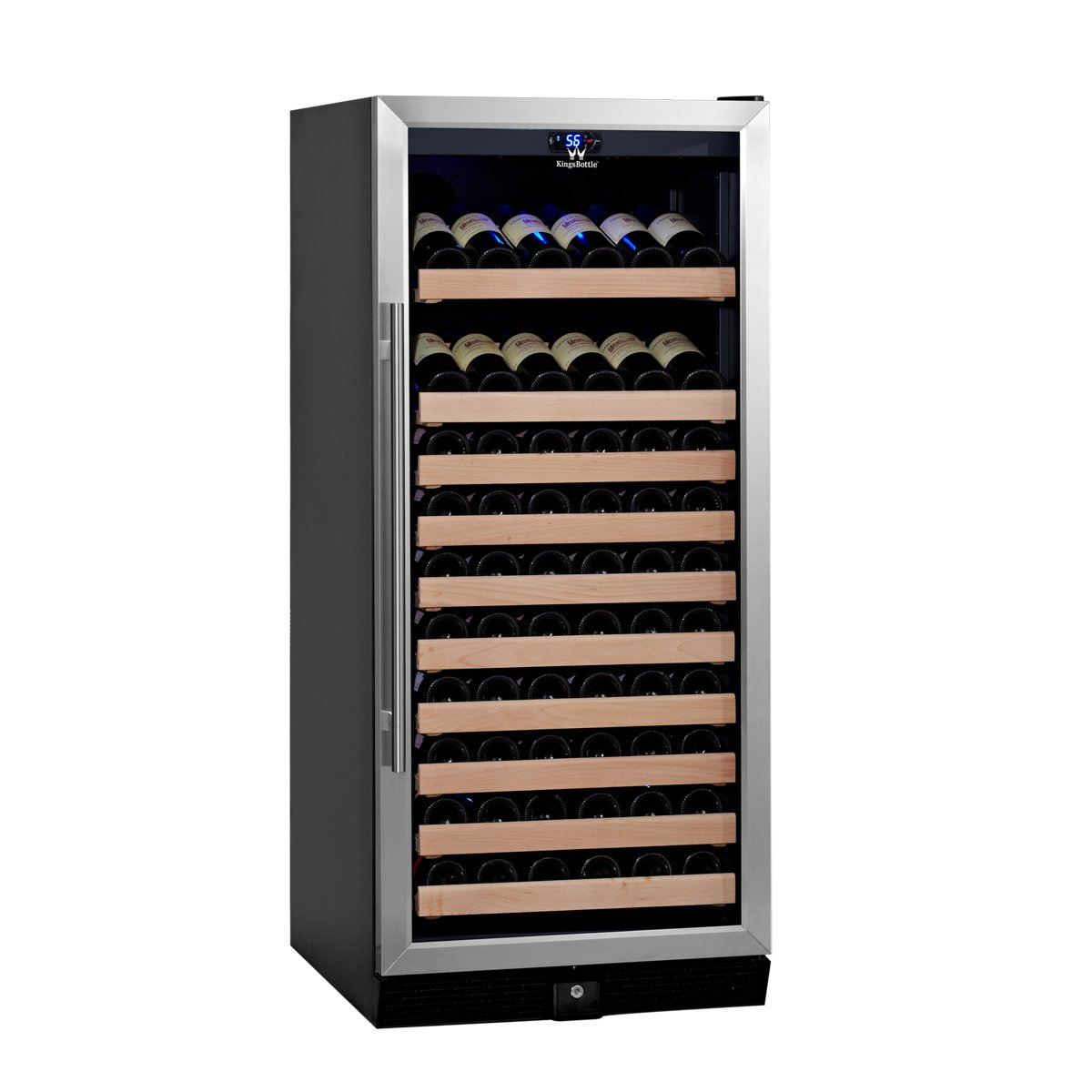 KingsBottle 98 Bottle Single Zone Wine Cooler, Stainless Steel with Glass Door by KingsBottle