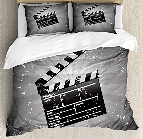 Ambesonne Movie Theater Queen Size Duvet Cover Set, Clapper Board on Retro Backdrop with Grunge Effect Director Cut Scene, Decorative 3 Piece Bedding Set with 2 Pillow Shams, Grey Black White