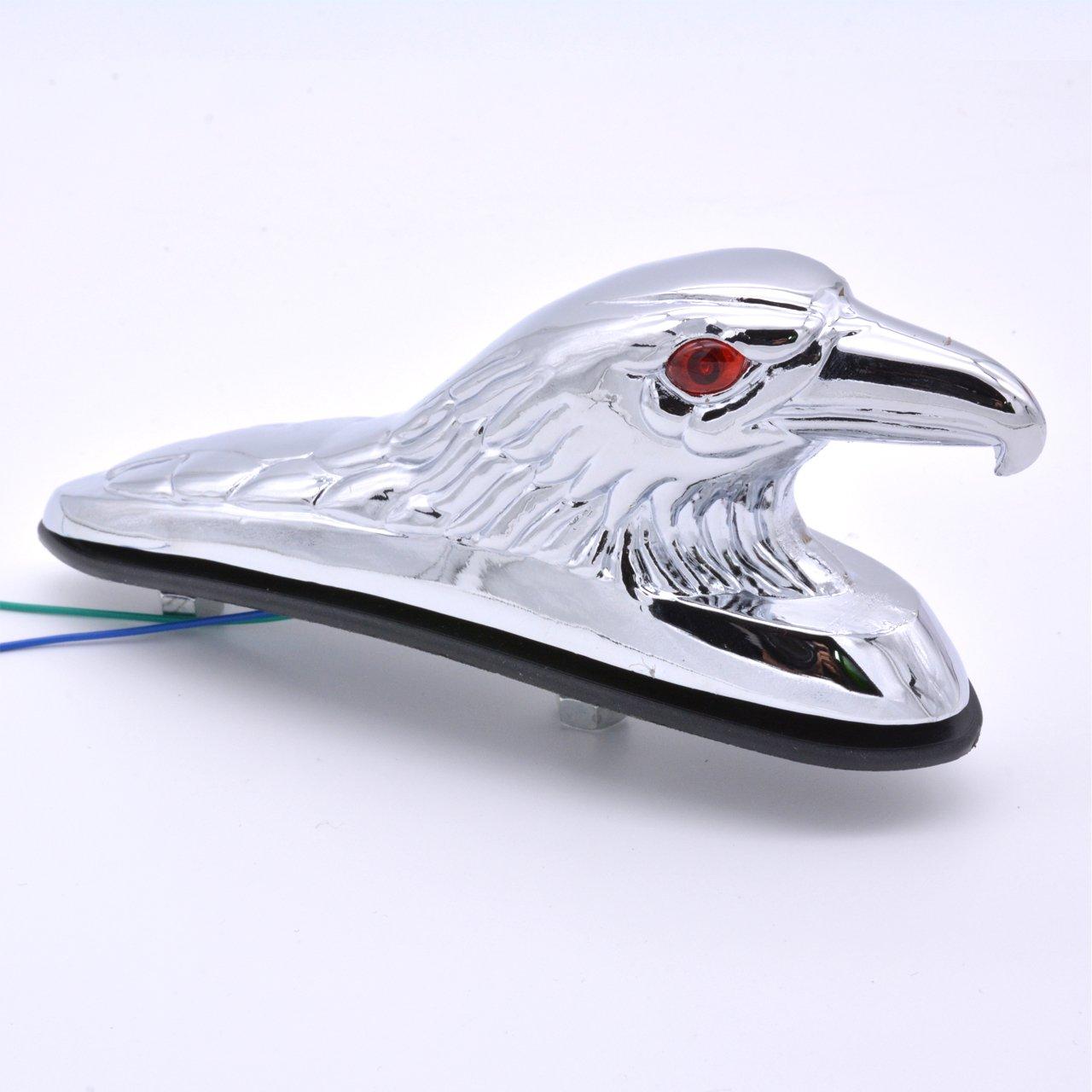 KaTur Chrome Eagle Head Ornament Statue for Motorcycle Motorbike ATV Front Fender Frames /& Fittings Car Bonnet