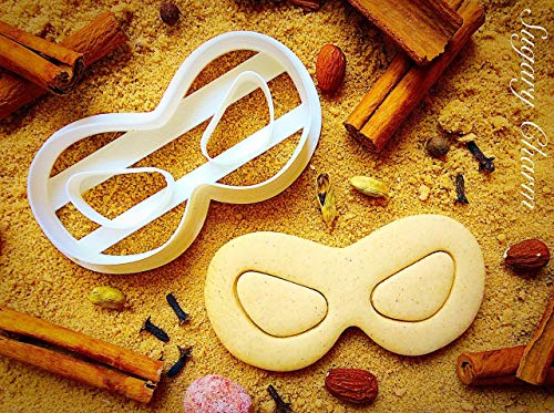 Super Hero Mask Cookie Cutter - Theater Superhero Face Mask Cutters for Sweet Cookies - Incredibles Party Sugarbelle Supplies - 3D Printed Shaped Dough Imprint - Biscuits Mold by Sugary Charm -