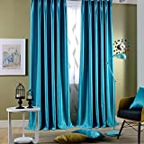 Leyden Grommet Top Classic Solid Blue Bright Velvet Curtains Curtain Drapes – 100Wx102″L (One Panel) For Sale