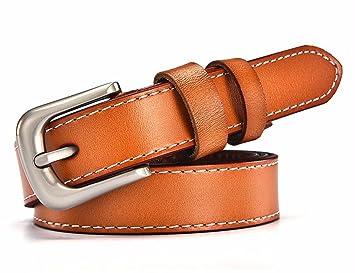 Pin boucle ceinture femme en cuir simple ceinture mode décoration ceinture  en cuir allongé étudiants Brown 351d2b36224