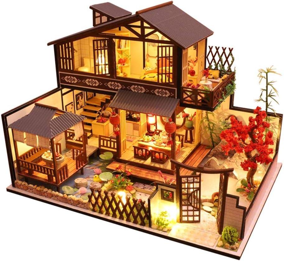DIY Dollhouse Kit handgemacht zusammengebaut romantische kleine Loft Haus Dachgeschoss Modell Miniatur Dollhouse Kits f/ür Weihnachten Geburtstag Wapern Dollhouse Kit
