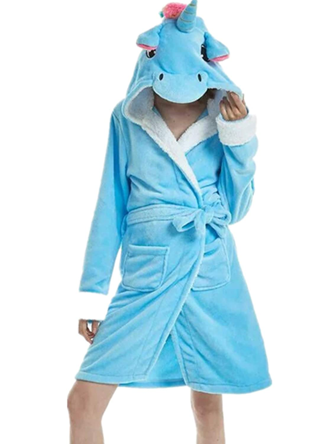 Crazycatz@ Girls Unicorn Soft Fleece Hooded Bathrobe Dressing Gown