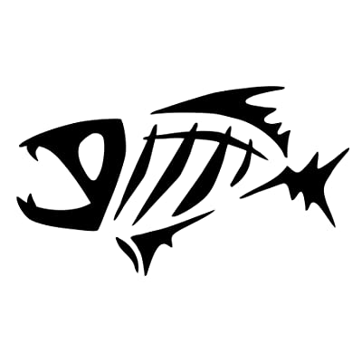 "spdecals G Loomis Fish Skeleton Car Window Vinyl Decal Sticker (black, 5""): Automotive"