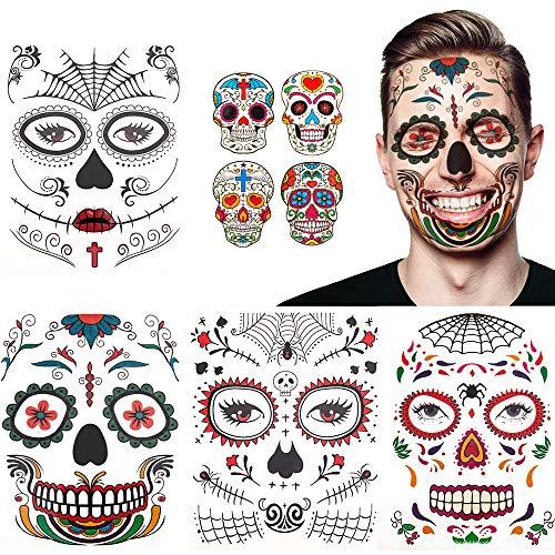 Halloween tatuaje facial temporal paquete de 8 kit de maquillaje de calavera