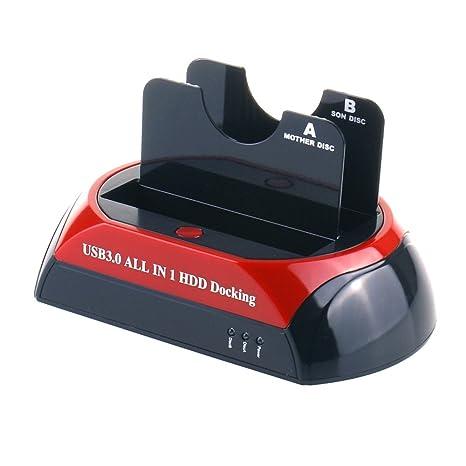 WANLONGXIN WLX-876U3-J USB 2.0 a SATA Dual Bahía Externo Disco ...