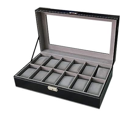 Sodynee - Caja organizadora para 12 relojes y joyas de hombre, de piel sintética,