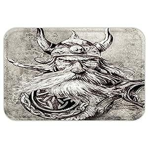 VROSELV Custom Puerta mattattoo decoración artística Dibujo a lápiz de un Valiente Guerrero Vikingo con hiarmour Imagen, Color Gris y Blanco