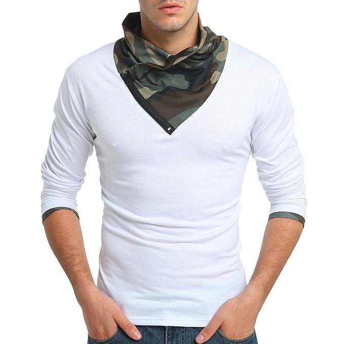 Camiseta para Hombre, RETUROM Camuflaje Otoño Camuflaje Manga Larga Sudadera con Cremallera Sudaderas Top Blusa: Amazon.es: Ropa y accesorios