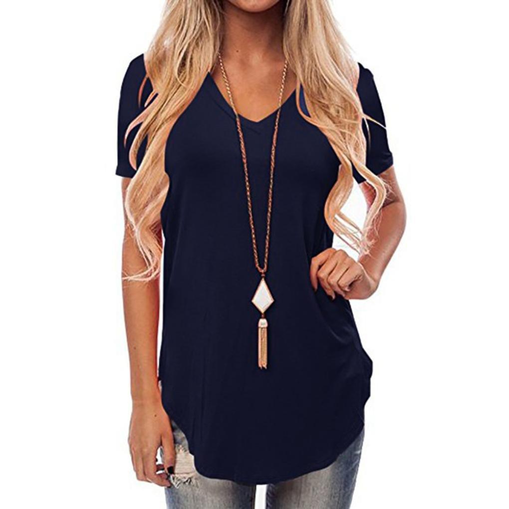 Lookatool Women's Short Sleeve V-Neck Irregular Hem Loose Casual Tee T-Shirt