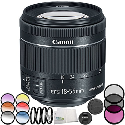 Canon EF-S 18-55mm f/4-5.6 is STM Lens 7PC Bundle  Includes Manufacturer Accessories + Microfiber Cleaning Cloth  International Version (No Warranty) (White Box)