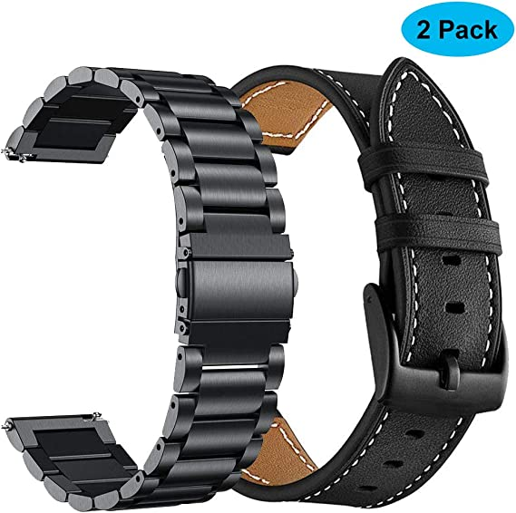 Yeejok Replacement Vivoactive 3 Watch Bands, 20mm Quick Release Genuine Leather Watch Strap and Metal Watch Band Compatible for Garmin Vivoactive 3 ...