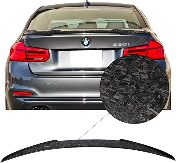 Trunk Spoiler Fits 2012-2019 BMW 3-Series F30 F80 P Style Carbon Fiber Black Trunk Boot Lid Deck Lip Spoiler Wing By IKON MOTORSPORTS 2013 2014 2015 2016 2017