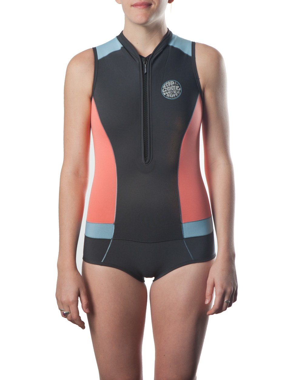 Rip Curl G Bomb Sleeve Less Bikini Spring Suit, Coral, Size 4
