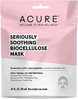 product image for Acure Seriously Soothing Biocellulose Gel Mask | 100% Vegan | For Dry to Sensitive Skin | Hyaluronic Acid & Plant Peptides - Soothes & Hydrates | Single Use Mask | 1 Count, Multi Color