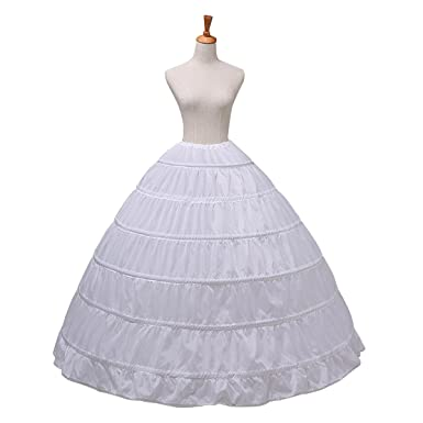 Clearbridal Womens Mega Full 6 Hoop Petticoat Crinoline Underskirt for Prom Dresses Wedding Bride White 12003