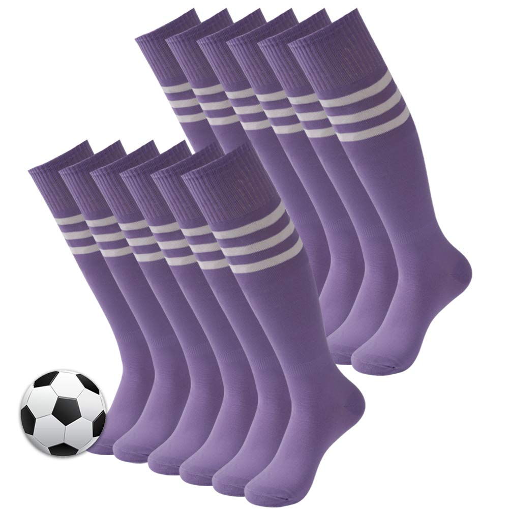 Soccer Long Socks, 3street Unisex Over The Knee Breathable Arch Support Compression Athletic Baseball Softball Football Tube Socks,Gifts for Gilrs Medium Purple 12 Pairs by Three street