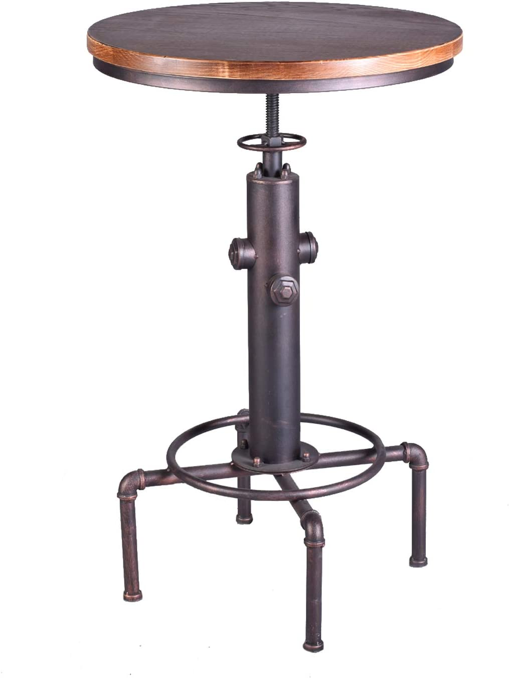 """TOPOWER Industrial Bar Table 31.5-41.3"""" Adjustable Pub Table Kitchen Dining Coffee Bistro Table (Bronze): Kitchen & Dining"""