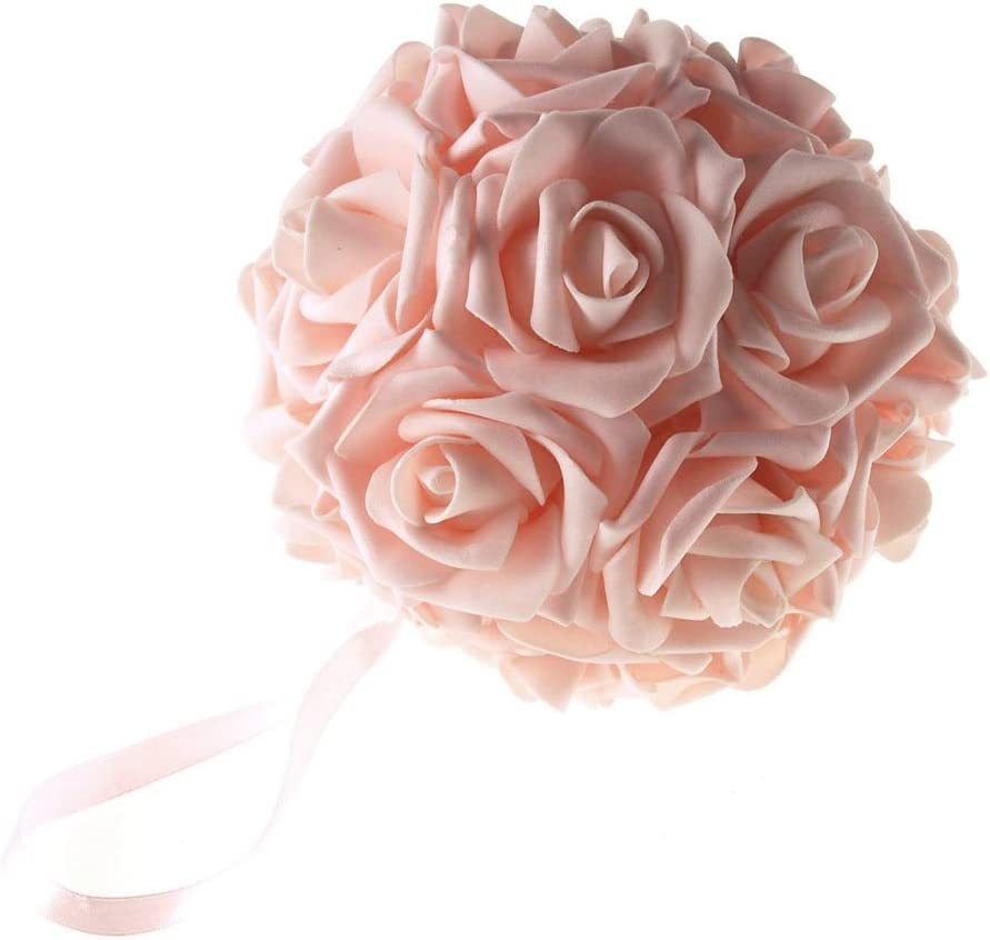 Party Spin Soft Touch Foam Rose Flower Kissing Ball Wedding Centerpiece, 6-inch (Light Pink)
