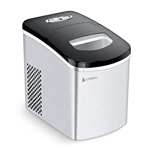 LITBOOS Portable Ice Maker - Ice Ready in 7 Mins - 26LBS/24H Stainless Steel Countertop Ice Maker 1.5L Ice Storage Perfect for Water Bottles Mixed Drinks - Electric Ice Machine for Home/Office/Bar