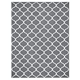 Area Rugs, Maples Rugs [Made in USA][Rebecca] 7' x 10' Non Slip Padded Large Rug for Living Room, Bedroom, and Dining Room - Grey/White