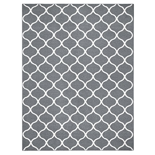 Area Rugs, Maples Rugs [Made in USA][Rebecca] 7' x 10' Non Slip Padded Large Rug for Living Room, Bedroom, and Dining Room - Grey/White (Room In Carpet Grey Living)