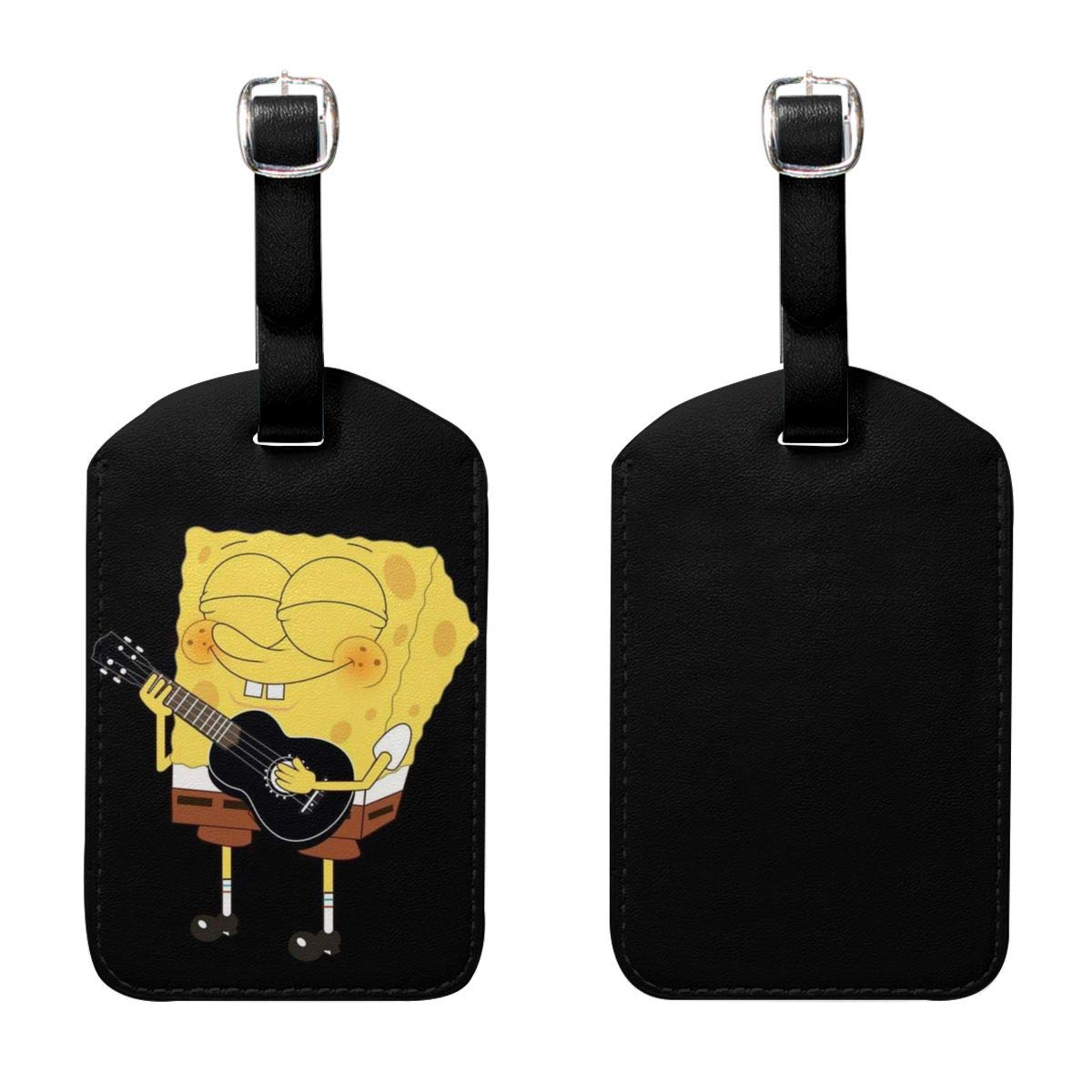 Set of 2 PU Leather Luggage Tags Spongebob Playing Guitar Suitcase Labels Bag Adjustable Leather Strap Travel Accessories