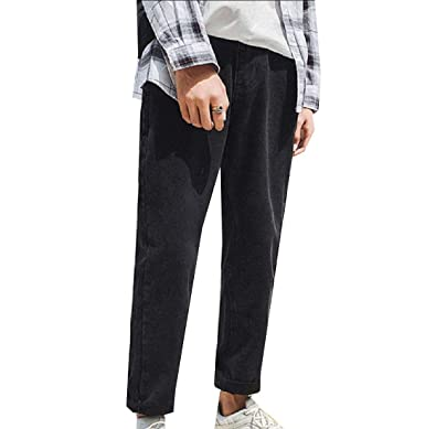 Men Casual Trousers Wide Leg Straight Leg High Waist Ankle Jeans At