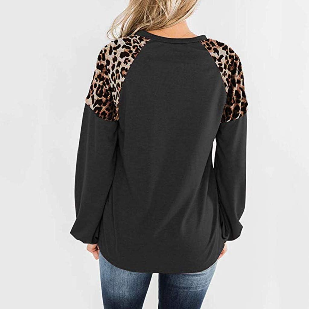 Makalon 2020 Womens Winter Fashion Round Neck Long Sleeve Leopard Print Panel Top