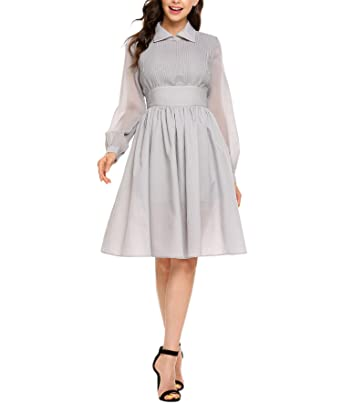 Zeela Womens Vintage Style Long Sleeve High Waist Pleated Swing Dress