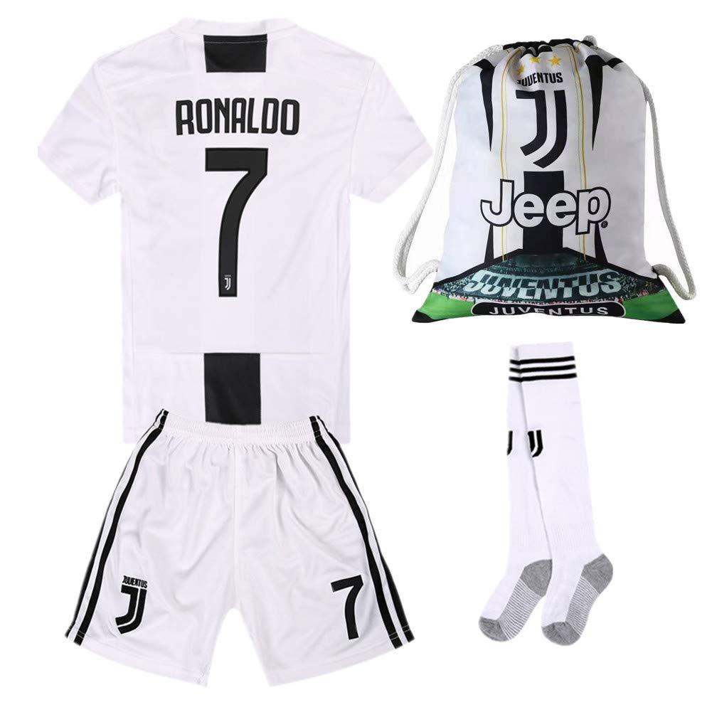 #7 Ronaldo Juventus Home 18//19 Season Kids//Youth Soccer Jersey /& Shorts /& Socks and Drawstring Sports Ball Bag White