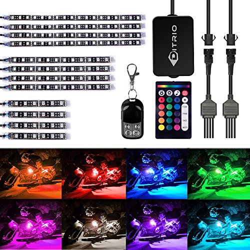 DITRIO 12Pcs Motorcycle LED Light Kit Strips Multi-Color Accent Glow Neon Ground Effect Atmosphere Lights Lamp with Wireless Remote Controller for Harley Davidson Honda Kawasaki Suzuki (Pack of 12) ()
