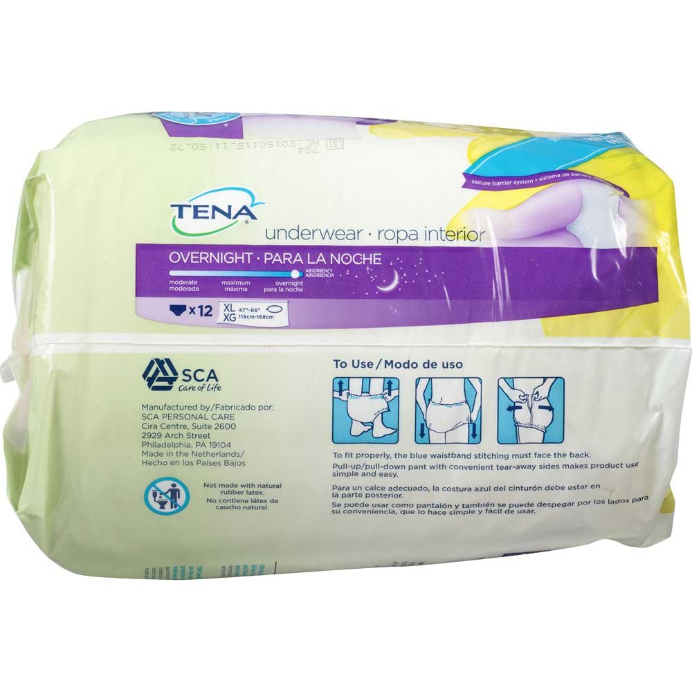 Amazon.com: Tena Overnight Underwear XL 47 inch to 66 inch 12 ct Pack - 4 Packs per case.: Health & Personal Care