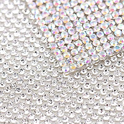 Crystal+Crystal 240X400mm Crystal Rhinestone Trim Hotfix Strass Crystal Mesh Banding Bridal Beaded Applique in Sheet for Dresses with 2mm Rhinestones 2pcs