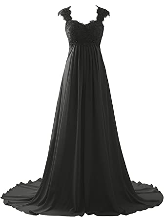 Victoria Prom Sleeveless Lace Stain Wedding Dress Bridal Gown Long Prom Dress Black US2