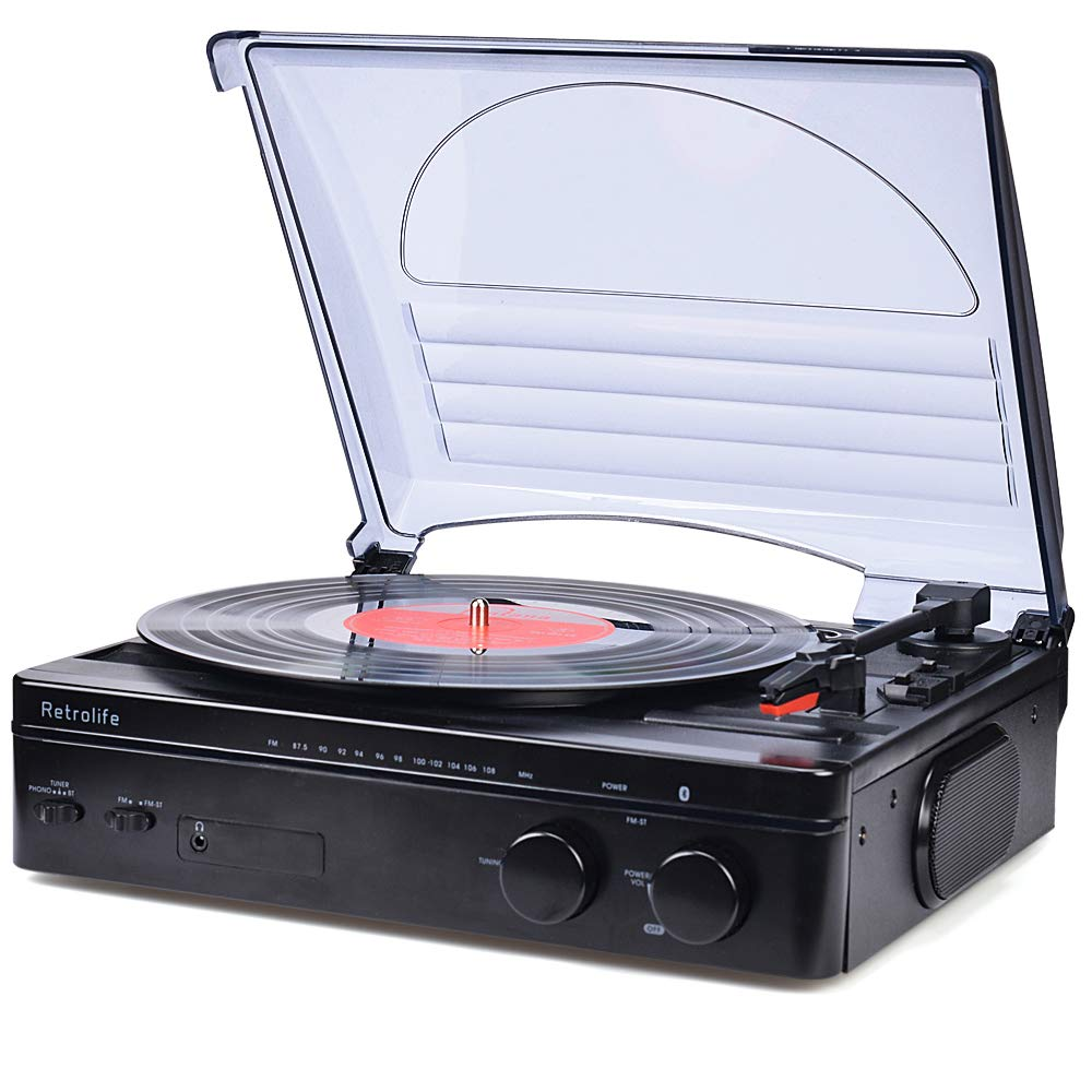 Record Player Bluetooth Turntable with Stereo Speakers Portable Belt-Driven Nostalgic LP Vinyl Record Player with FM Stereo Radio Line Output Headphone Jack Natural Wood Design 2019 Upgraded by SeeYing