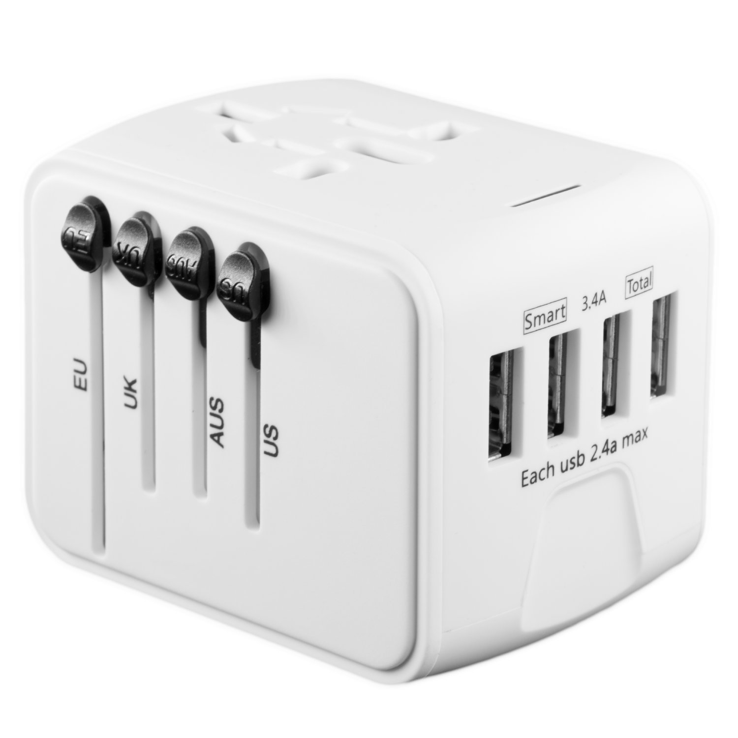 International Travel Adapter Universal Power Adaptor European Plug Converter Worldwide All in One with 2.4A 4 USB Ports and AC Socket US to Europe Plug Adapters for UK USA American EU AUS Asia (White)